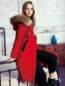 知彩2016冬装新款红色羽绒服