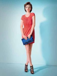 妍琳女装橙色收腰连衣裙
