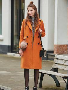 香影橙色H版毛呢大衣
