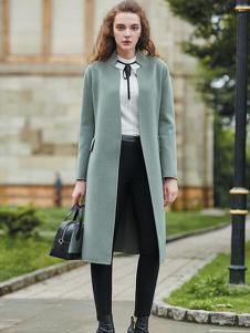 香影女装绿色韩版修身大衣