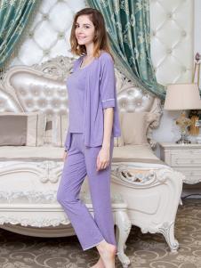 丹蓓姿紫色优雅家居服套装