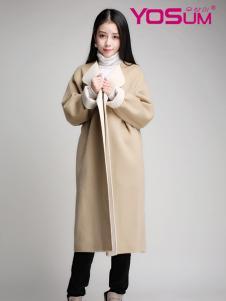 YOSUM米色长款欧版大衣