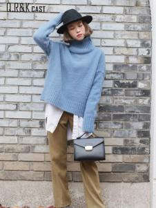 Q.R&K CAST2016秋冬新品蓝色高领毛衣