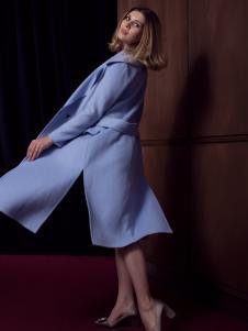 图案女装蓝色长款开叉大衣