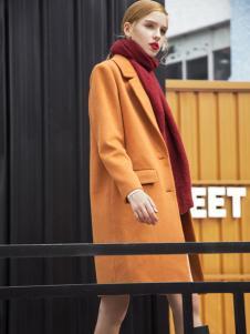 莎斯莱思黄色欧版毛呢大衣