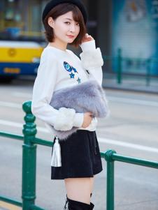 普普风女装2016秋冬新品白色上衣