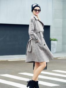 艾米欧美灰色长款大衣