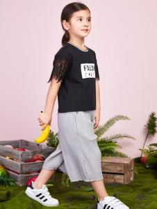 poipoilu女童黑色T恤