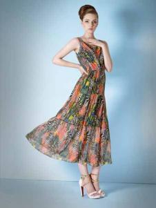 妍琳女装印花雪纺长裙