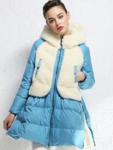 衣佰芬女装2016秋冬拼接羽绒服