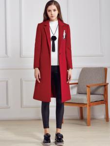 都市衣柜红色长款毛呢大衣