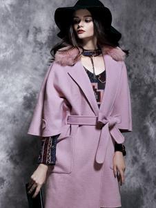 楚阁女装粉色收腰毛领大衣