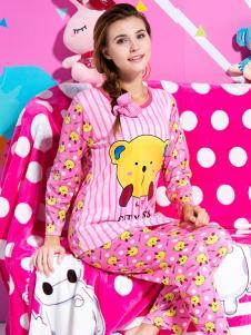 城市佳人粉色卡通印花家居套装