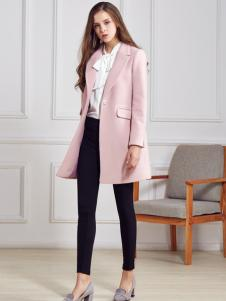 都市衣柜粉色简约版毛呢外套
