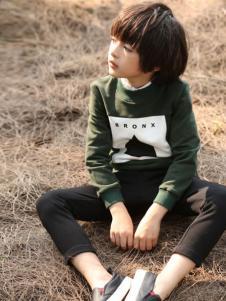 帕纳摩亚童装2016秋冬新品绿色卫衣