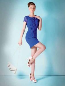 妍琳女装宝蓝色收腰连衣裙