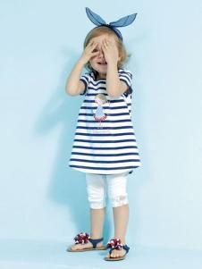 艾艾屋童装蓝色条纹T恤