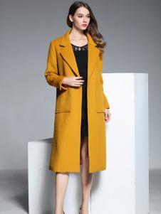彤欣格黄色长款修身毛呢大衣