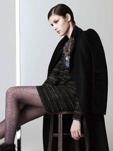 衣索女装黑色长款大衣