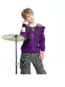 纽约男孩童装紫色卫衣外套