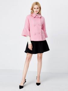 亦谷女装2016秋冬新品粉色短款呢大衣