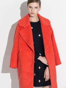 G大调秋冬装橘红色大衣