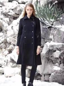 女士黑色双排扣休闲大衣