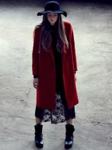 菀草壹女装新品红色长款呢大衣