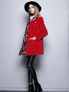 楚阁红色圆领女装外套
