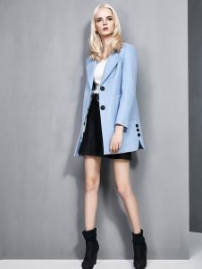 依然秀2016冬装新款淡蓝色大衣