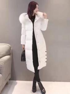 阿莱贝琳白色毛领羽绒服