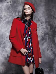 楚阁女装红色圆领毛呢外套