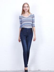 丹尼布鲁秋季蓝色时尚牛仔裤