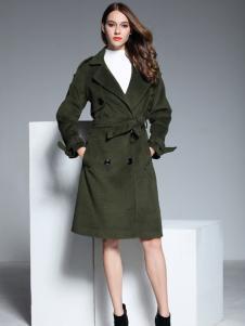 彤欣格女装绿色收腰毛呢大衣