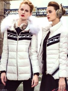 衬茉品牌折扣2016冬季白色羽绒服