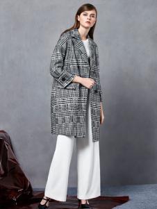 奥伦提2016冬季新款黑白条纹大衣