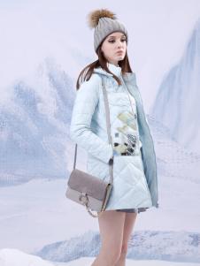 艺域2016秋冬新款浅蓝色印花羽绒服