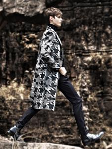 新升流派印花长款毛呢外套