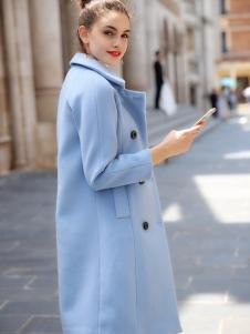 优尚美蓝色韩版修身毛呢大衣