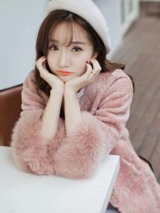 莉雅莉萨粉色七分袖皮草外套