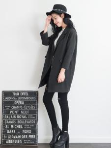 天使韩城黑色九分袖外套