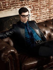 爱迪丹顿黑色皮质外套