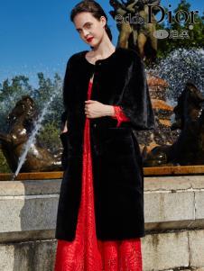 迪奥女装2016冬季新款黑色皮草
