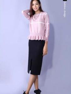 YES女装粉色针织毛衣