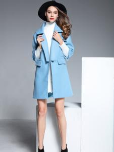 彤欣格蓝色翻领七分袖大衣