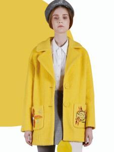 DOTACOKO女士短款黄色大衣