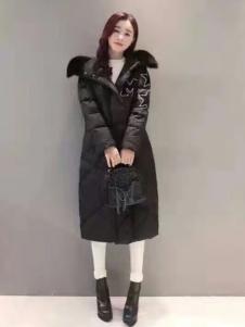 阿莱贝琳黑色长款羽绒服