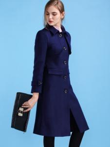 淑女日记女士单排扣长款修身大衣