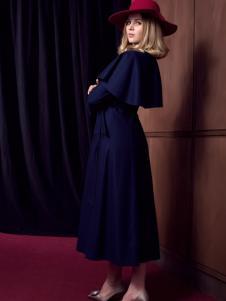 图案女装蓝色斗篷连衣裙