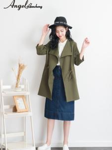 天使韩城军绿色宽松外套